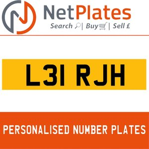 L31 RJH PERSONALISED PRIVATE CHERISHED DVLA NUMBER PLATE For Sale
