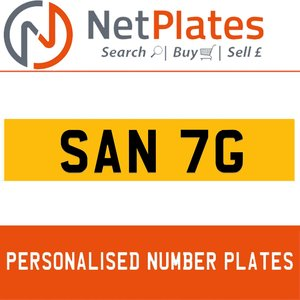 SAN 7G PERSONALISED PRIVATE CHERISHED DVLA NUMBER PLATE