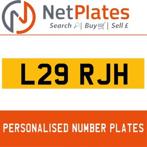 L29 RJH PERSONALISED PRIVATE CHERISHED DVLA NUMBER PLATE For Sale