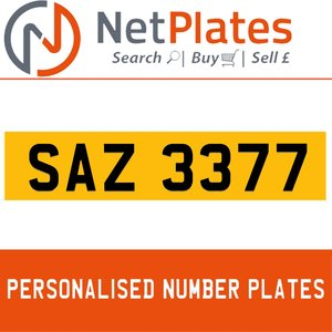 SAZ 3377 PERSONALISED PRIVATE CHERISHED DVLA NUMBER PLATE For Sale