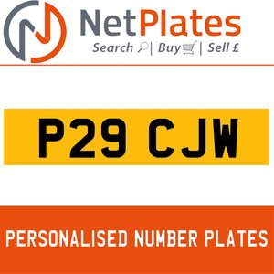 P29 CJW PERSONALISED PRIVATE CHERISHED DVLA NUMBER PLATE