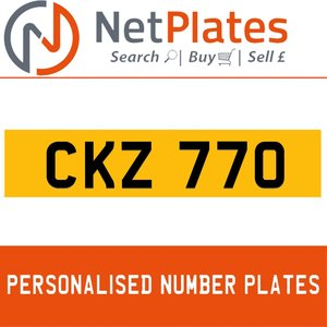 CKZ 770 PERSONALISED PRIVATE CHERISHED DVLA NUMBER PLATE For Sale