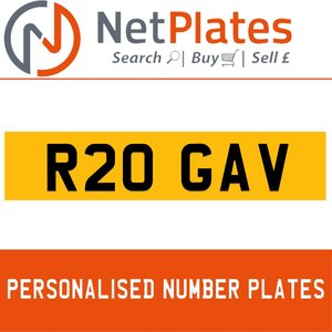 R20 GAV PERSONALISED PRIVATE CHERISHED DVLA NUMBER PLATE For Sale
