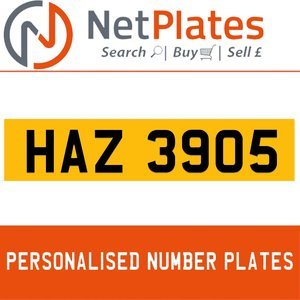 HAZ 3905 PERSONALISED PRIVATE CHERISHED DVLA NUMBER PLATE
