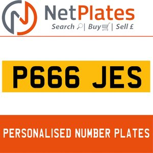 P666 JES PERSONALISED PRIVATE CHERISHED DVLA NUMBER PLATE For Sale
