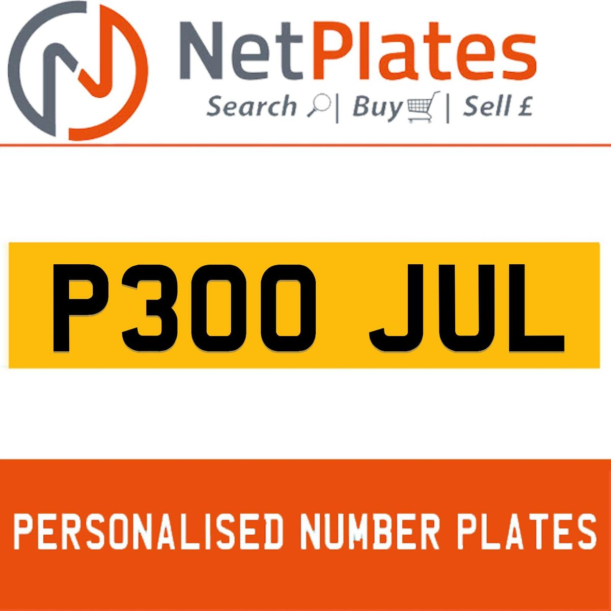 P300 JUL PERSONALISED PRIVATE CHERISHED DVLA NUMBER PLATE For Sale (picture 1 of 5)