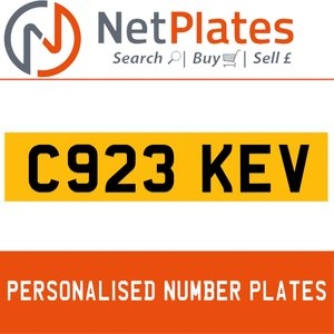 C923 KEV PERSONALISED PRIVATE CHERISHED DVLA NUMBER PLATE For Sale