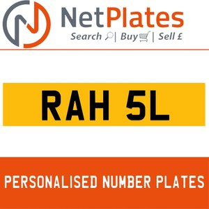 RAH 5L PERSONALISED PRIVATE CHERISHED DVLA NUMBER PLATE For Sale
