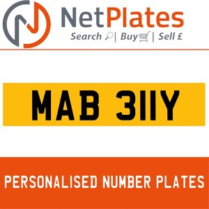 MAB 311Y PERSONALISED PRIVATE CHERISHED DVLA NUMBER PLATE For Sale