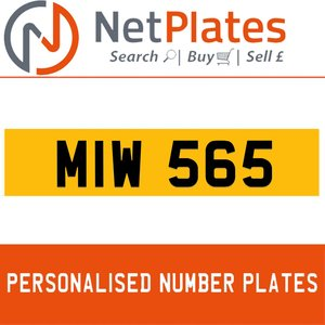 MIW 565 PERSONALISED PRIVATE CHERISHED DVLA NUMBER PLATE