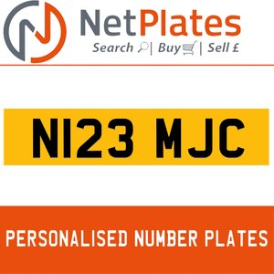 N123 MJC PERSONALISED PRIVATE CHERISHED DVLA NUMBER PLATE For Sale