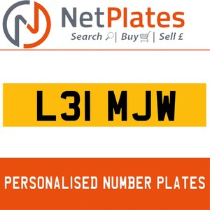 L31 MJW PERSONALISED PRIVATE CHERISHED DVLA NUMBER PLATE