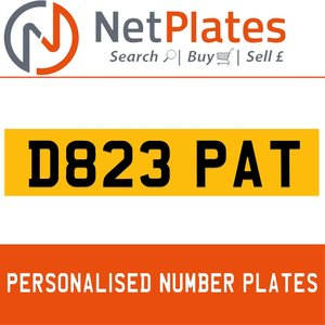 D823 PAT PERSONALISED PRIVATE CHERISHED DVLA NUMBER PLATE For Sale