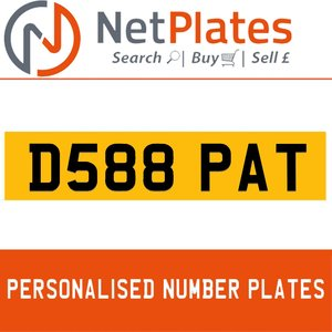 D588 PAT PERSONALISED PRIVATE CHERISHED DVLA NUMBER PLATE