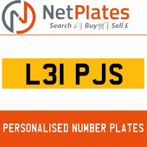 L31 PJS PERSONALISED PRIVATE CHERISHED DVLA NUMBER PLATE For Sale