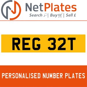 REG 32T PERSONALISED PRIVATE CHERISHED DVLA NUMBER PLATE For Sale