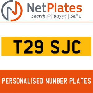 T29 SJC PERSONALISED PRIVATE CHERISHED DVLA NUMBER PLATE