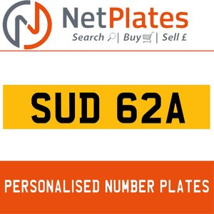 SUD 62A PERSONALISED PRIVATE CHERISHED DVLA NUMBER PLATE