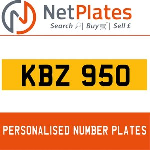 KBZ 950 PERSONALISED PRIVATE CHERISHED DVLA NUMBER PLATE
