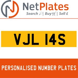 VJL 14S PERSONALISED PRIVATE CHERISHED DVLA NUMBER PLATE
