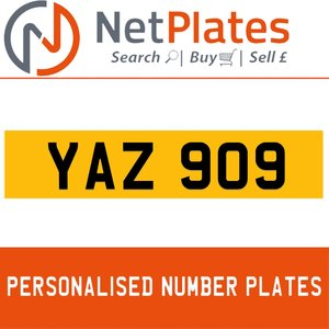YAZ 909 PERSONALISED PRIVATE CHERISHED DVLA NUMBER PLATE For Sale
