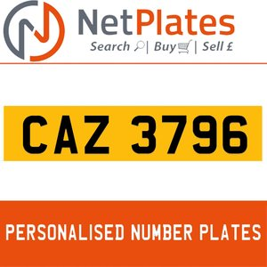 CAZ 3796 PERSONALISED PRIVATE CHERISHED DVLA NUMBER PLATE For Sale