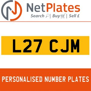 L27 CJM PERSONALISED PRIVATE CHERISHED DVLA NUMBER PLATE For Sale