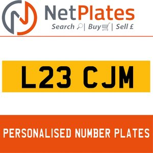 L23 CJM PERSONALISED PRIVATE CHERISHED DVLA NUMBER PLATE