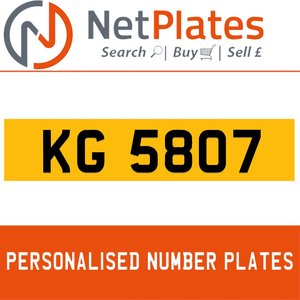 KG 5807 PERSONALISED PRIVATE CHERISHED DVLA NUMBER PLATE