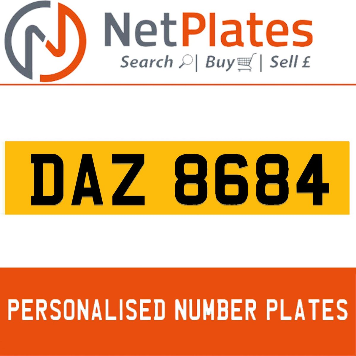 DAZ 8684 PERSONALISED PRIVATE CHERISHED DVLA NUMBER PLATE For Sale (picture 1 of 5)