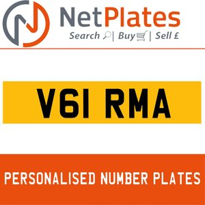 V61 RMA PERSONALISED PRIVATE CHERISHED DVLA NUMBER PLATE For Sale