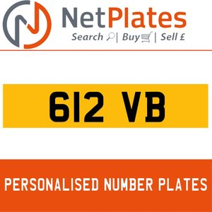 612 VB PERSONALISED PRIVATE CHERISHED DVLA NUMBER PLATE