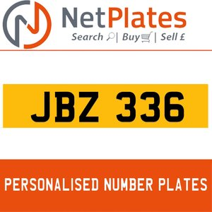 JBZ 336 PERSONALISED PRIVATE CHERISHED DVLA NUMBER PLATE For Sale
