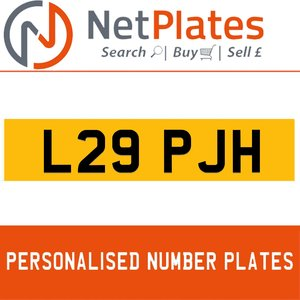 L29 PJH PERSONALISED PRIVATE CHERISHED DVLA NUMBER PLATE For Sale