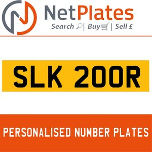 SLK 200R PERSONALISED PRIVATE CHERISHED DVLA NUMBER PLATE For Sale