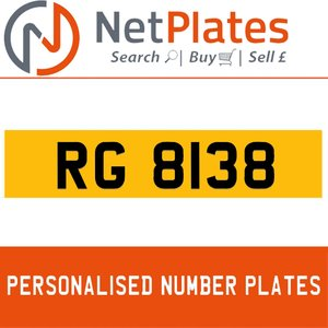 RG 8138 PERSONALISED PRIVATE CHERISHED DVLA NUMBER PLATE For Sale