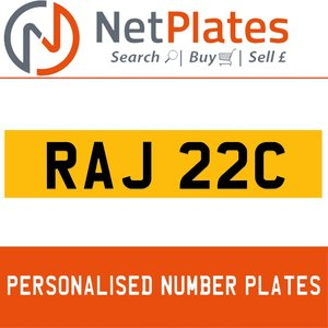 RAJ 22C PERSONALISED PRIVATE CHERISHED DVLA NUMBER PLATE For Sale