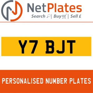 Y7 BJT PERSONALISED PRIVATE CHERISHED DVLA NUMBER PLATE