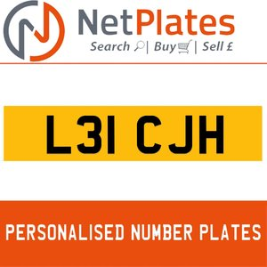 L31 CJH PERSONALISED PRIVATE CHERISHED DVLA NUMBER PLATE For Sale