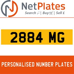 2884 MG PERSONALISED PRIVATE CHERISHED DVLA NUMBER PLATE For Sale