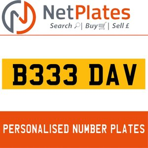 B333 DAV PERSONALISED PRIVATE CHERISHED DVLA NUMBER PLATE For Sale