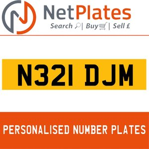 N321 DJM PERSONALISED PRIVATE CHERISHED DVLA NUMBER PLATE For Sale