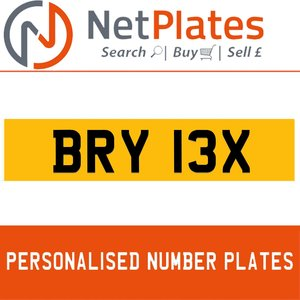 BRY 13X PERSONALISED PRIVATE CHERISHED DVLA NUMBER PLATE For Sale
