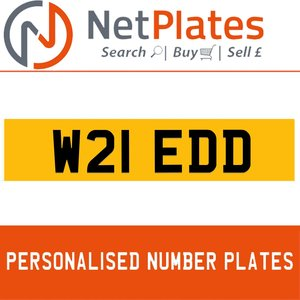 W21 EDD PERSONALISED PRIVATE CHERISHED DVLA NUMBER PLATE For Sale