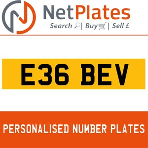 Picture of E36 BEV PERSONALISED PRIVATE CHERISHED DVLA NUMBER PLATE For Sale