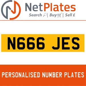 N666 JES PERSONALISED PRIVATE CHERISHED DVLA NUMBER PLATE For Sale