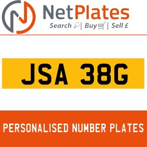 JSA 38G PERSONALISED PRIVATE CHERISHED DVLA NUMBER PLATE For Sale