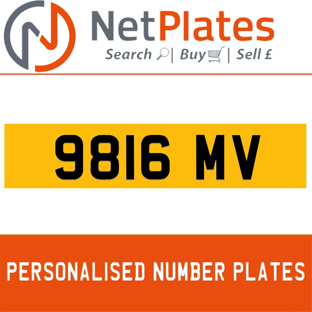 9816 MV PERSONALISED PRIVATE CHERISHED DVLA NUMBER PLATE For Sale (picture 1 of 5)
