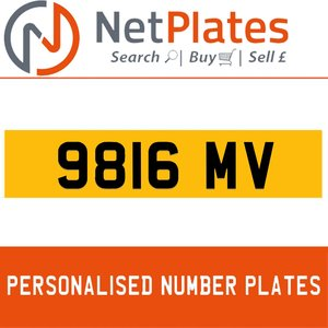 9816 MV PERSONALISED PRIVATE CHERISHED DVLA NUMBER PLATE For Sale
