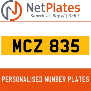 MCZ 835 PERSONALISED PRIVATE CHERISHED DVLA NUMBER PLATE